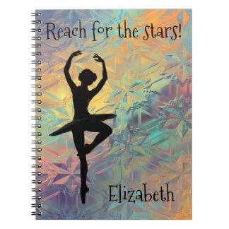 Caderno Espiral Alcance do balé para as estrelas feitas sob