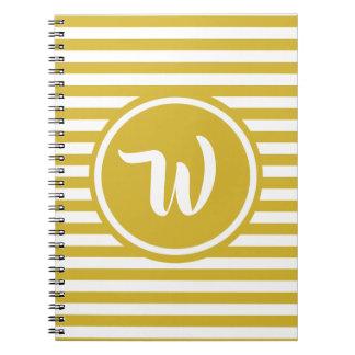 Caderno Espiral Amarelo simples e o branco listram iniciais