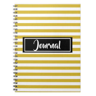 Caderno Espiral Amarelo simples e o branco listram jornal listrado