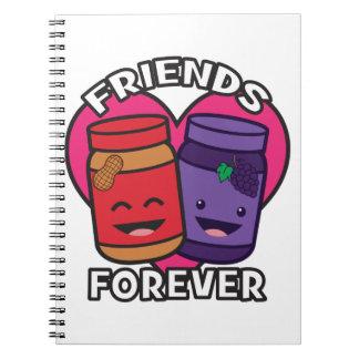 Caderno Espiral Amigos para sempre - manteiga de amendoim e geléia