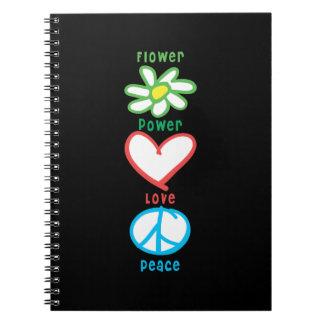 Caderno Espiral Amor e paz de flower power