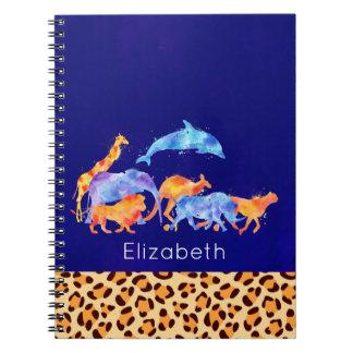 Caderno Espiral Animais selvagens com uma beira do impressão do