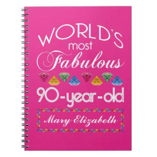 Caderno Espiral aniversário do 90 a maioria de rosa colorido