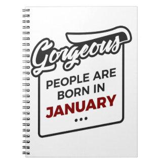 Caderno Espiral Aniversário lindo dos bebês do nascer em janeiro