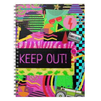 Caderno Espiral Anos 80 Funky colorido corajoso brilhante Rad do
