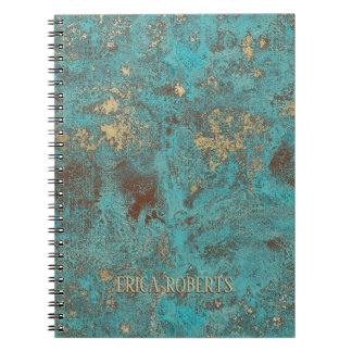 Caderno Espiral Antiguidade de cobre do vintage da cerceta & do