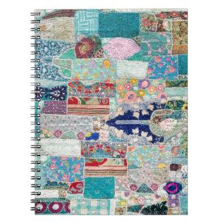 Caderno Espiral Aqua e design azul da tapeçaria da edredão