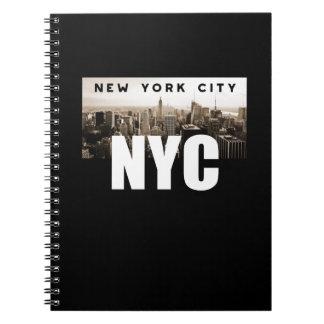 Caderno Espiral Arquitetura da foto da skyline da Nova Iorque de