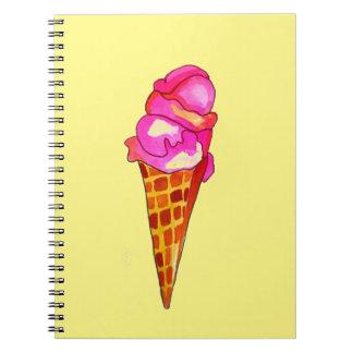 Caderno Espiral arte bonito da comida do gelato do gelado