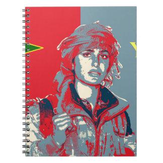 Caderno Espiral Arte curdo 2 do lutador de YPJ