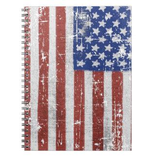 Caderno Espiral Arte da bandeira americana do vintage
