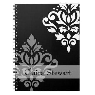 Caderno Espiral Arte do damasco do rolo mim cinzas+Peso no preto