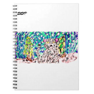 Caderno Espiral Arte do inverno do leopardo de neve