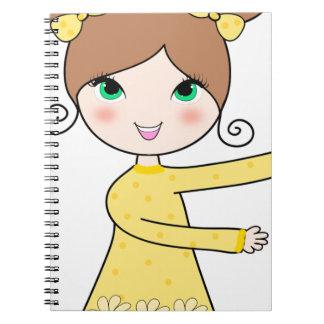 Caderno Espiral Arte dos desenhos animados da menina de dois