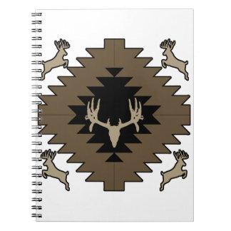 Caderno Espiral Arte indiana americana dos cervos do fanfarrão