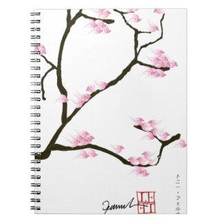 Caderno Espiral árvore de sakura e fernandes tony dos pássaros