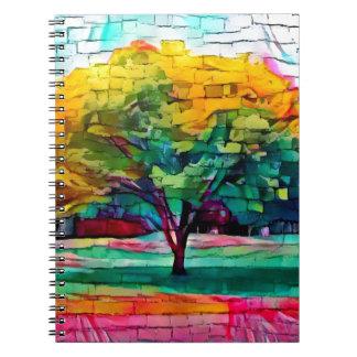 Caderno Espiral Árvore do outono em cores vívidas