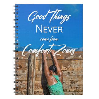 Caderno Espiral As boas coisas nunca vêm das zonas de conforto