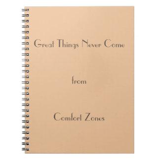 Caderno Espiral As grandes coisas nunca vêm das zonas de conforto