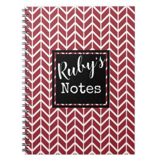 Caderno Espiral As notas do rubi. Seu nome. Cor feita sob