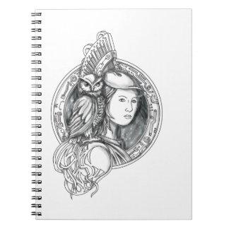 Caderno Espiral Athena com a coruja no Cir do circuito eletrônico