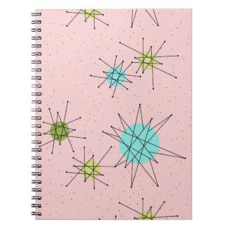 Caderno espiral atômico icónico cor-de-rosa de