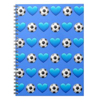 Caderno espiral azul de Emoji da bola de futebol