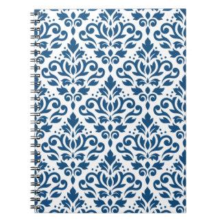 Caderno Espiral Azul de Ptn DK do damasco do rolo no branco