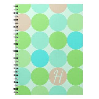 Caderno Espiral Azul de turquesa & monograma dos círculos da