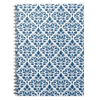 Caderno Espiral Azul do Rpt Ptn DK do damasco do rolo no branco