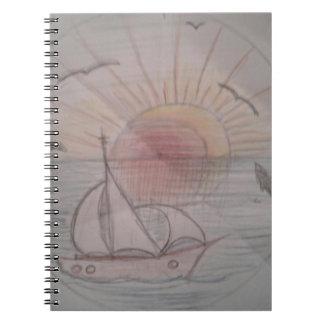 Caderno Espiral Azul do sol do divertimento