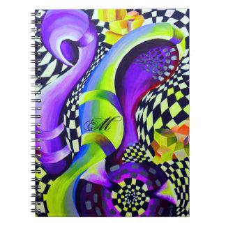 Caderno Espiral Azul elétrico abstrato retro e verde do Harlequin