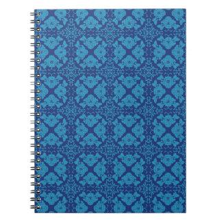Caderno Espiral Azul em Patttern geométrico floral azul
