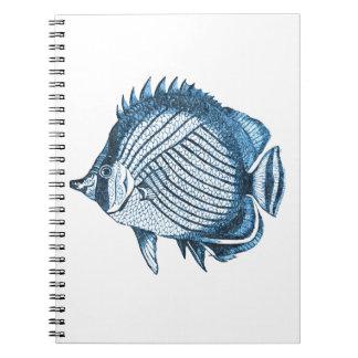 Caderno Espiral Azul litoral do mar do oceano náutico da praia dos