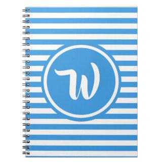 Caderno Espiral Azul simples e o branco listram iniciais listradas