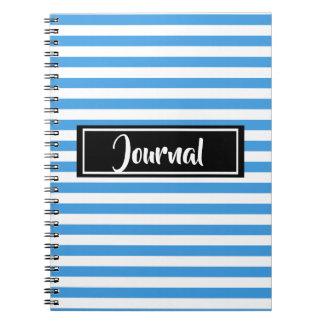 Caderno Espiral Azul simples e o branco listram jornal listrado