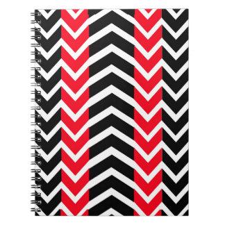 Caderno Espiral Baleia vermelha e preta Chevron