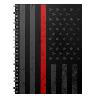 Caderno Espiral Bandeira afligida obscuridade do bombeiro
