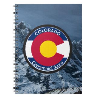 Caderno Espiral Bandeira da circular de Colorado