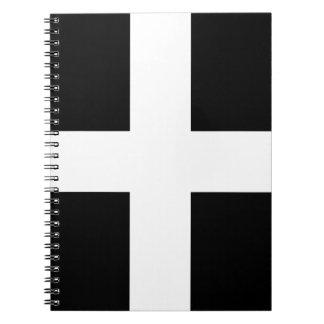 Caderno Espiral Bandeira da Cornualha de Piran Cornish do santo -