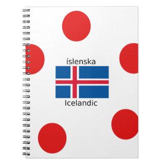 Caderno Espiral Bandeira de Islândia e design islandês da língua