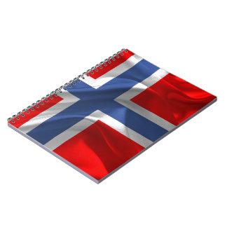 Caderno Espiral Bandeira de ondulação norueguesa