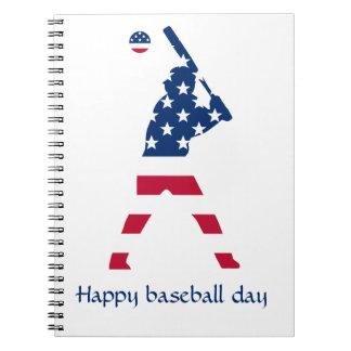 Caderno Espiral Bandeira do americano do basebol de América