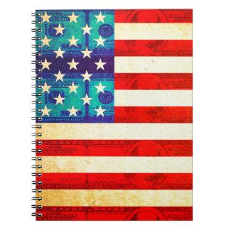 Caderno Espiral Bandeira do dinheiro de América