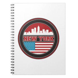 Caderno Espiral Bandeira dos Estados Unidos da skyline | de New