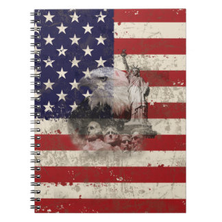 Caderno Espiral Bandeira e símbolos dos Estados Unidos ID155