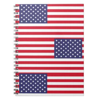Caderno Espiral Bandeira nacional dos Estados Unidos da América