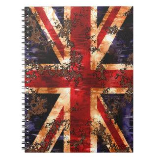 Caderno Espiral Bandeira patriótica oxidada de Reino Unido