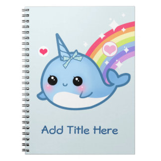 Caderno Espiral Bebê bonito narwhal com o arco-íris - personalizad