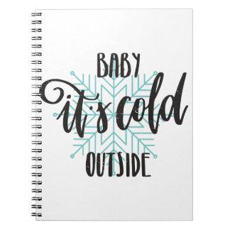 Caderno Espiral Bebê seu floco de neve exterior frio - rotulação